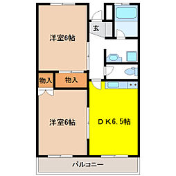栃木県宇都宮市松原2の賃貸マンションの間取り