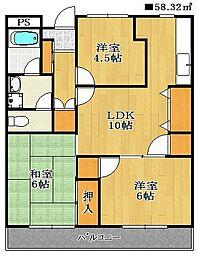 船橋エイコーハイツ[4階]の間取り