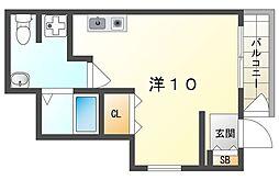 京阪本線 古川橋駅 徒歩15分の賃貸マンション 3階ワンルームの間取り