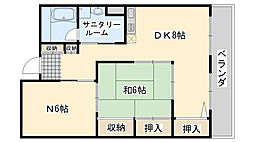 サンライフ尾崎 5階1SDKの間取り