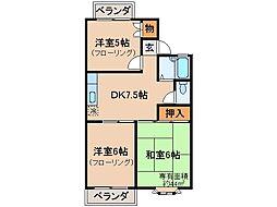 京都府京都市伏見区両替町の賃貸アパートの間取り