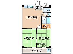 京都府京都市伏見区指物町の賃貸マンションの間取り