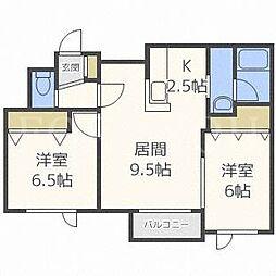 北海道札幌市豊平区月寒東二条8丁目の賃貸マンションの間取り