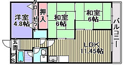 ハピネスコトーヨシムラ[203号室]の間取り
