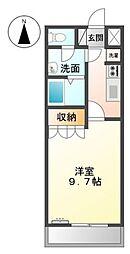 JR山陽本線 庭瀬駅 徒歩20分の賃貸アパート 1階1Kの間取り