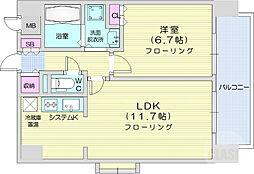 エルスタンザ広瀬通 RESIDENCE 9階1LDKの間取り