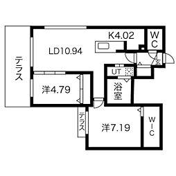 Midotown Terrace B 1階2LDKの間取り