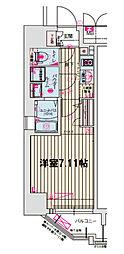 JR大阪環状線 野田駅 徒歩5分の賃貸マンション 7階1Kの間取り