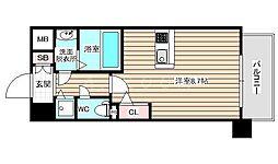 アドバンス西梅田2 4階ワンルームの間取り