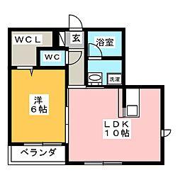 富士見テラス鎌倉 1階1LDKの間取り