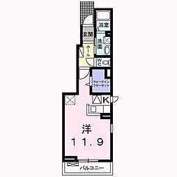 南海線 岸和田駅 徒歩10分の賃貸アパート 1階1Kの間取り