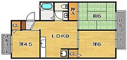 大阪府茨木市中村町の賃貸アパートの間取り