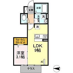D-room鶴巻南[103号室]の間取り