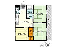リバーサイドマンション・レオ[3階]の間取り