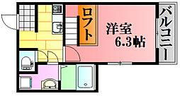 EPIC戸坂 2階1Kの間取り