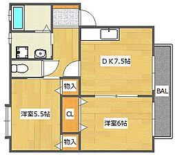 大阪府高槻市上本町の賃貸アパートの間取り