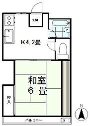 ファイン椎名町 2階1Kの間取り