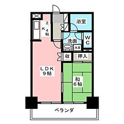 錦ハーモニー[5階]の間取り