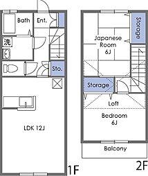 [テラスハウス] 埼玉県東松山市六軒町 の賃貸【/】の間取り