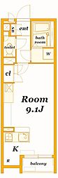 京急本線 屏風浦駅 徒歩19分の賃貸アパート 1階ワンルームの間取り