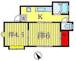 ハイツ山崎[201号室]の間取り