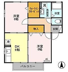 アネーロB[2階]の間取り