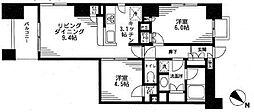 レジディア日本橋馬喰町 3階2LDKの間取り