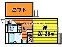 JR赤穂線 西大寺駅 徒歩34分の賃貸アパート 2階1Kの間取り