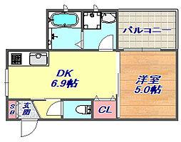 本山中町 カチフラット2[3階]の間取り