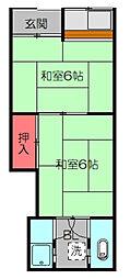 Osaka Metro谷町線 守口駅 徒歩4分の賃貸アパート 2階2Kの間取り