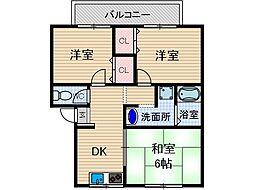 セジュール小柳2[2階]の間取り