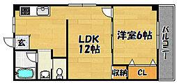 大阪府大阪市東淀川区豊新5丁目の賃貸マンションの間取り