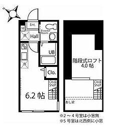京急本線 追浜駅 徒歩11分の賃貸アパート 2階ワンルームの間取り