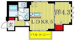 ワイズ フォレスト 3階1LDKの間取り