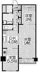 ル・ボアール芦屋 4階2DKの間取り