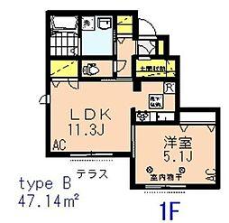 西武池袋線 富士見台駅 徒歩8分の賃貸アパート 1階1SLDKの間取り