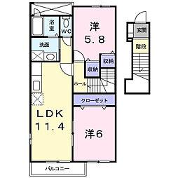 香川県観音寺市三本松町3丁目の賃貸アパートの間取り