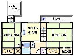 東京都足立区西新井栄町2丁目の賃貸アパートの間取り