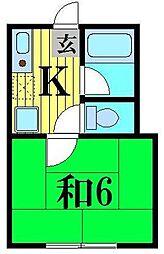 千葉県松戸市二十世紀が丘梨元町の賃貸アパートの間取り