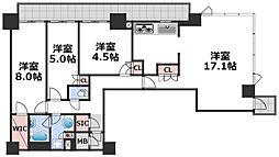 ブランズタワー梅田North 22階3LDKの間取り