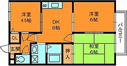 奈良県生駒郡三郷町立野北3丁目の賃貸アパートの間取り