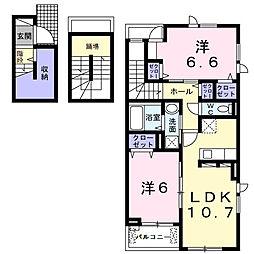 スターカレント成田I 3階2LDKの間取り