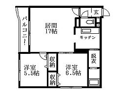 北海道札幌市清田区北野四条3丁目の賃貸マンションの間取り