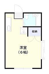 コーポ内野 A棟 2階ワンルームの間取り