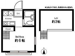 ハーミットクラブハウス峰岡B棟  横浜国立大学 徒歩15分[204号室]の間取り