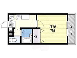 京阪本線 森小路駅 徒歩6分の賃貸マンション 3階1Kの間取り