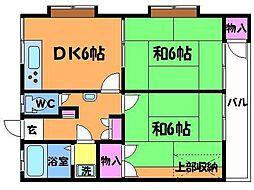 東京都調布市布田6丁目の賃貸アパートの間取り