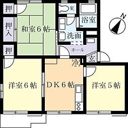 パストラルタウンD 2階3DKの間取り