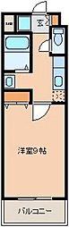 JR磐越西線 郡山富田駅 徒歩6分の賃貸マンション 3階1Kの間取り