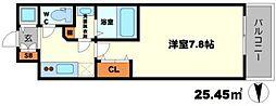 BPRレジデンス江坂 7階1Kの間取り